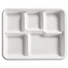 Chinet® Heavy-Weight Molded Fiber Café Tray, 5-Compartment, SSJHUH-22025